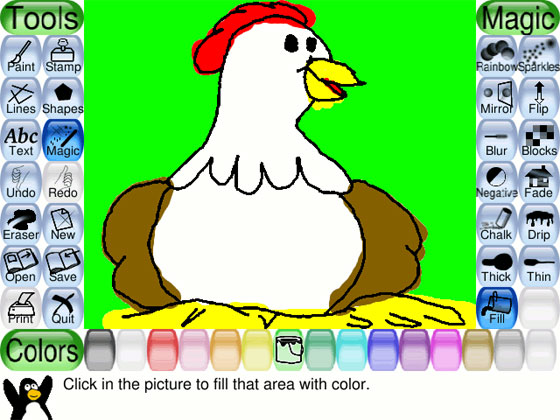 Paining A Hen In Tuxpaint